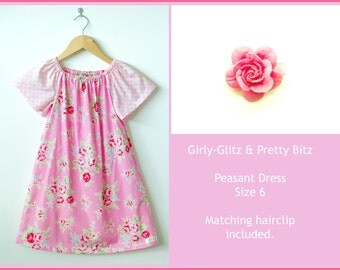 ON SALE - Pink Floral Peasant Dress (Size 6)