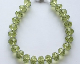 Faceted Green Glass Bracelet