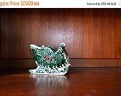 SALE 20% OFF vintage mid century green ceramic relpo christmas sleigh / holiday decor / candy dish / santa's sleigh