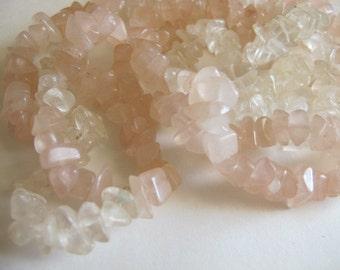 Quartz and Rose Quartz Chips Beads Strung Lot