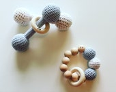 Set of Eco- Friendly wooden dumbbell rattle toys- 100% cotton, Ready to Ship