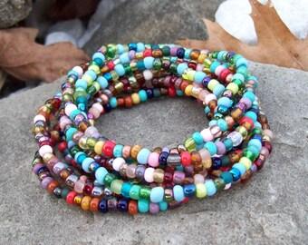 Stretch Stack Beaded Festival Bracelets, Colorful beaded bracelets, Boho, Hippie, Gypsy - 9 Stack bracelet set