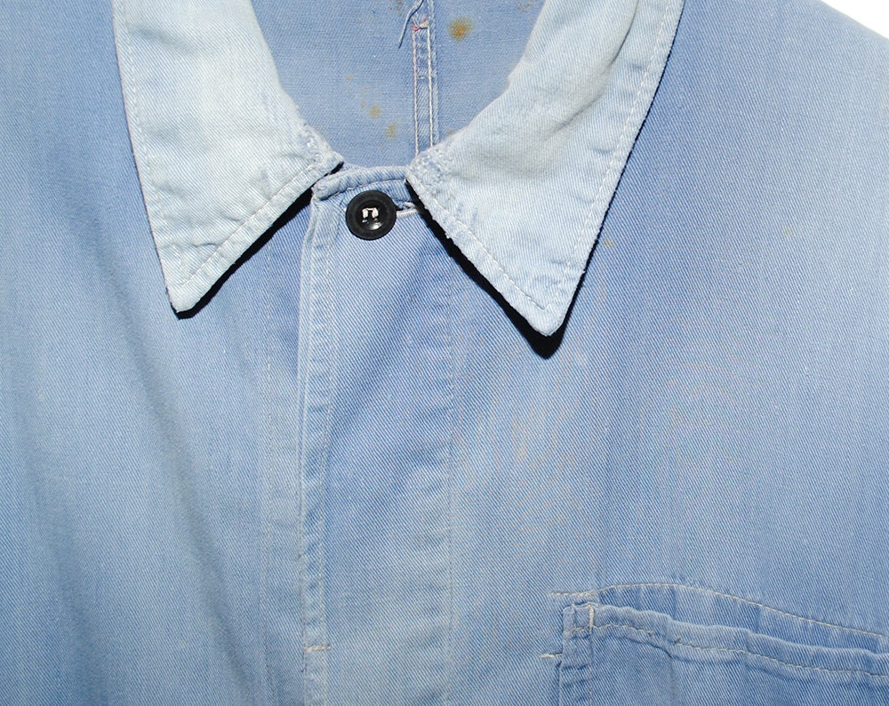 Vintage European Weathered & Faded Light Blue French Twill Cotton Button Up  Chore Coat - Medium