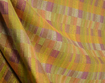 REMNANT 14938 Orange Maroon Green Gold Woven Fabric 57 inches x 8.25 yards