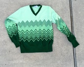 Green Ombré  Chevron 70's Vneck Sweater S