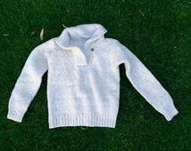 White & Cream Heathered Wool Sweater XS
