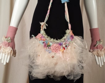 Angelina Fairie Purse with Wrinkled Tulle and my Artwork Marie Antoinette Cinderella Style