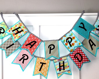 Happy Birthday Banner - Fabric and Felt Banner - Aqua, Coral, Yellow, Gray - Unisex Birthday Sign - Birthday Tradition