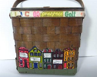 Vintage Handbag 60s 70s Box Bag with Hand Hainted Cincinnati City Scene
