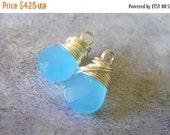 20% OFF ON SALE Ocean Blue Quartz Silver Plated Wire Wrapped Briolette Dangle, 1 pc, Gemstone Beads