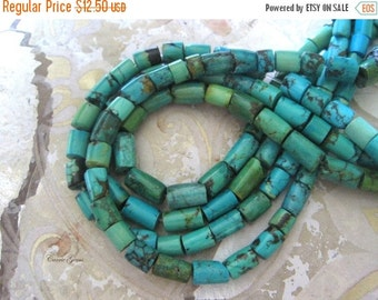 """30% OFF SALE Green Turquoise Tube 13mmx7mm Beads, 8"""" long, 14 pcs, Gemstone Beads"""