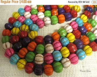 "20% OFF ON SALE 7.5"" long (13 pcs) Multi Color Howlite Pumpkin Beads 18mmx15mm"
