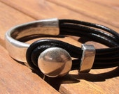 black leather bracelet, womens silver bracelets, etsy bracelets, leather bracelets, leather silver bracelet, solid bracelet, simple bracelet