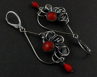 Wire wrapped red earring ,long dangle earring, coral earring, sterling silver jewely, luxury earring