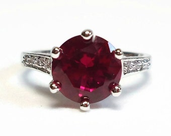 9K GF Cubic Zirconia Ruby & Diamond Ring Size 7 in Prong Set 1.5 Carat White Gold Filled Setting - Vintage 70's CZ Costume Jewelry