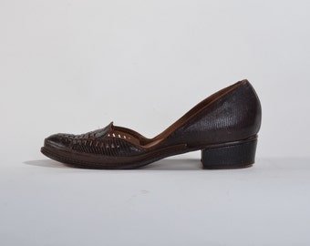 Vintage 1940s Lizard Loafers Shoes - Shenanigans Brown Java Lizard - Fall Fashions Size 6 7 N