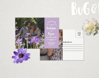 Save the Date Rustic Modern Calligraphy Postcard Mail Customize Photo Custom