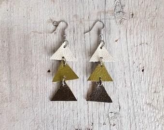 Arrow leather earrings, Triangle Dangle Earrings, olive green and cream,  boho tribal earrings, Unique Gift for Her