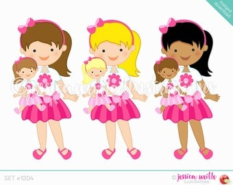 Pink Flower Dolly and Me Girl Cute Digital Clipart, Cute Girl Doll, Pink Clip art, Little Girl Graphics, Cute Girl Doll Illustration, #1204