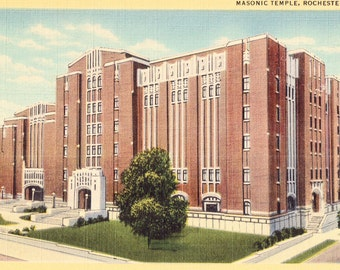 Masonic Temple, Rochester, NY Vintage Unused Linen Postcard