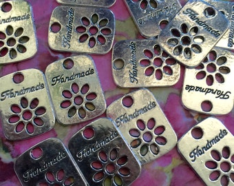 Metal Stamped Cabochons Stamped Handmade  Personal Flair Tag 15 Tags Personal Flair Handmade With Pride Branding Personalization Tags