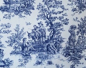 Blue and white tapestry looking fabric