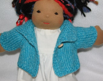Doll Sweater for 13 inch Doll in Aqua - Turquoise - Blue Heather Wool RTG