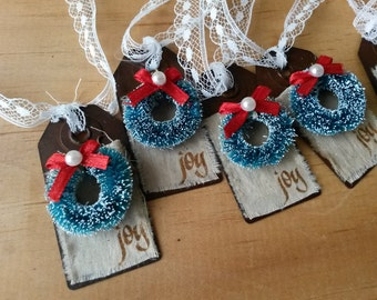 Rustic Christmas tag ornaments metal tags JOY ornaments bottle brush wreaths Christmas gifts home decor Shabby Cottage Chic style