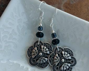 Black Button Earrings, Silver Button Black Sterling Silver Earrings, Black Silver Button Sterling Earrings, Black Button Silver Earrings