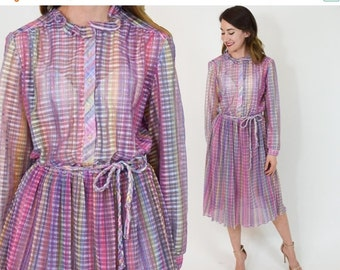 SummerS SALE 70s Print Day Dress | Pink Purple Accordion Pleated Dress | Large