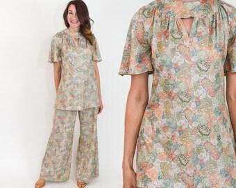 70s Floral Pantsuit | Tan Floral Print Tunic Top & Wide Leg Pants | Small