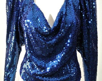 Vintage Blue sequined Formal Fancy womens Top/ Blouse Long Sleeve S-Small Draped
