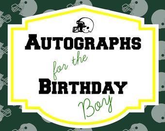 Football Themed Guest Book Sign for Birthday Boy, Printable