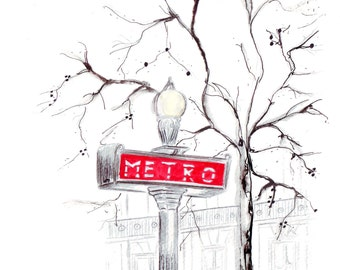 Watercolour illustration Titled Paris Metro