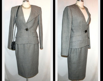 Gai Mattiolo 1990s Black/White Wool Power Skirt Suit Made in Italy