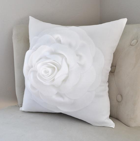 Vintage white throw pillow • square rose pillow • white home decor • White wash decor • French country farmhouse • rustic white home decor