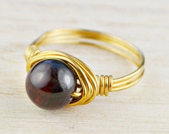 Garnet Ring - Yellow Gold Filled or Argentium Silver Wire Wrapped Red Garnet Gemstone- Any Size 4, 5, 6, 7, 8, 9, 10, 11, 12, 13, 14