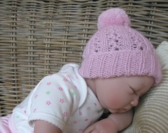 READY TO SHIP Newborn Baby Pom Pom Hat in Light Pink