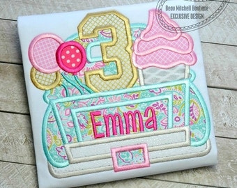 3 Birthday Truck Applique embroidery design - A BMB EXCLUSIVE design!