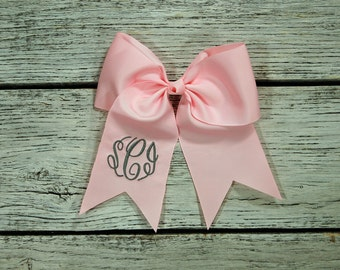 Monogrammed hair bow, girls hair bow