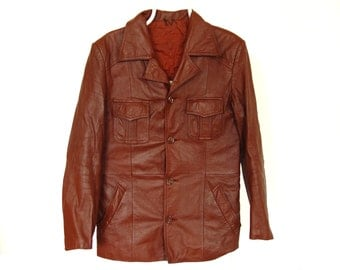 Brown Leather Jacket. Women Genuine Leather.