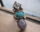 Amazing Sterling Statement Ring with Clear Quartz Pyramid, Arizona Turquoise Cab and Amethyst Scarab. Size 7.75. Ready to Ship.