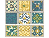 Patchwork Moroccan style Wall Art Digital Mosaic Tile  Modern Picture  -Yellow Navy Cream Olive Green Wall Art Vintage- Choose  any   6:)