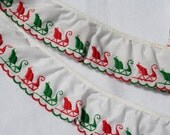 Ruffled Christmas Trim Lace Red and Green Sleighs