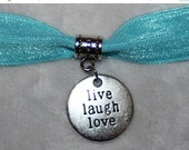 ON SALE 10% off Set of 5 silver Live Laugh Love dangle hanging charm charms for Bracelet or Hair Ties h37