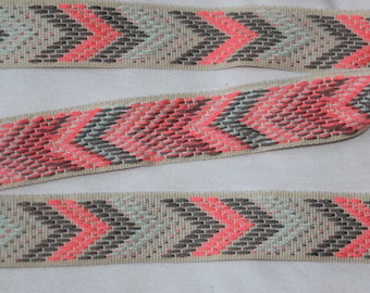 "4 yards off white tan pink coral gray chevron herringbone design woven sewing ribbon 1"" wide"