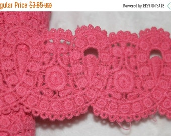 "ON SALE 10% off 2 yards Bubblegum Pink Cotton VENISE embroidered Guipure Victorian Trim lace 2.25"" wide Dr2"