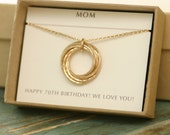 70th birthday gift for her, necklace for mom gift from grandkids, gift for grandmother necklace gold - Lilia