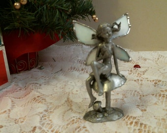 Stained glass standing Cast  FAIRY with white wings