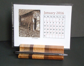 2016Calendar with Wood Holder